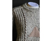 rare 1980s geometric print sweater / vintage claude montana for gianni ballanti / thick fashion pullover