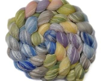 Hand painted roving - Bamboo / Merino wool spinning fiber - 3.9 ounces - Riverbank Picnic 2