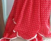Swaddle Guaze Blanket -  Infant Cotton Knit Swaddle Blanket Handmade Lightweight Pom Pom Trim -Reddish Coral with White Polka Dots