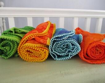 Swaddle Wrap Handmade Lightweight Cotton Muslin Gauze Blue Green Turquoise Plaid Gauze Orange Green Batik Swaddle Blanket Stroller