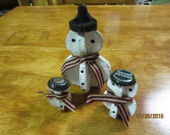 Set of 3 Rustic Snowmen Handcrafted Original Folk Art Christmas Winter Home Decor Collectible
