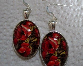 Red Poppies Oval Glass Earrings