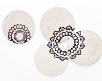Concrete Coasters, Lace, Mother in Law Gift, Industrial Coasters, Round Concrete Coasters, Wedding Gift, Modern, Housewarming Gift, Filigree