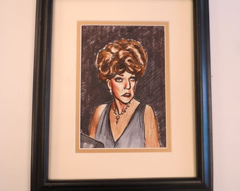 Pat Buckley Matted and Framed Sketch by Carter Herrington