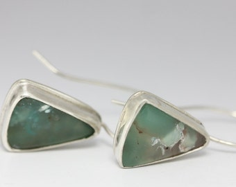 Gem Silica & Sterling Earrings, Aqua Blue Earrings, Gemstone Earrings, Natural Gemstones, OOAK Gift