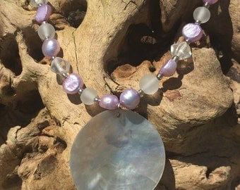 Summer Purple and White, Shell and Glass Bead Necklace