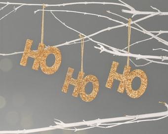 Ho Ho Ho Christmas Tree Decorations - Pack of 3