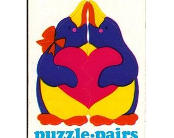 ON SALE Rare Vintage Illuminations Puzzle Pairs Adorable Penguins Sticker 1983 Penguin