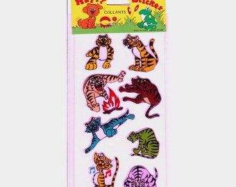 ON SALE Rare Vintage Tiger Puffy Stickers - 80's New in the Package - Cartoon Toy Cat Stripe
