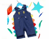 Dragon rainbow shortall short dungaree kids dress up costume.