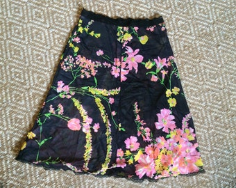 Vintage 1970's slip black with pink and yellow flowers S XS