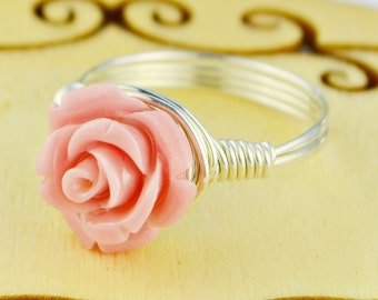 Pink Rose Ring - Wire Wrapped with Dusky Pink Carved Gemstone Rose - Any Size- Size 4, 5, 6, 7, 8, 9, 10, 11, 12, 13, 14