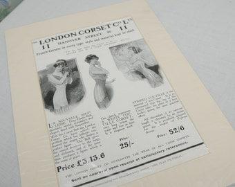 Original Mounted 1920s London Corset Company Ltd Advert