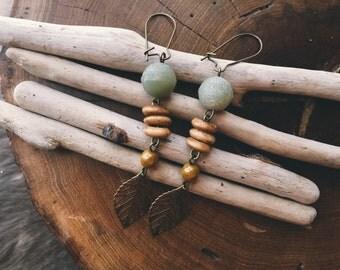 Earthy Feminine Brass Leaf Earrings