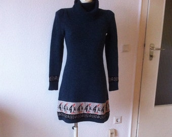 90s Penguin Turtleneck Fair Isle Nordic Knit Sweater Dress