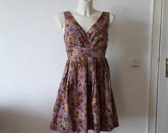 90s Mauve lavender floral print babydoll dress full circle 50s style