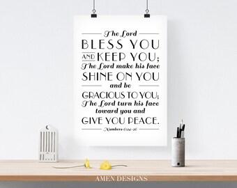 Number 6:24-26. Benediction. 8x10 DIY Printable Christian Poster. PDF. Bible Verse.