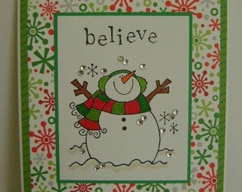 Snowman Believe holiday note card