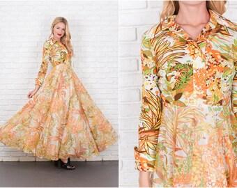 Vintage 70s Orange + Yellow Boho Maxi Dress Full A Line Floral Print Tropical XS 7857 vintage dress 70s dress orange dress yellow dress