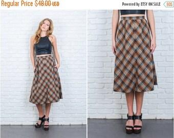 LABOR DAY SALE Vintage 70s Brown Mod Retro Skirt High Waist Plaid Striped A Line Wool Xs 6369 vintage skirt brown skirt 70s skirt mod skirt