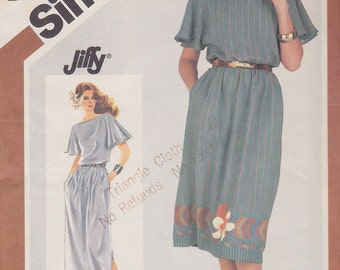 1982 Flutter Sleeve Day or Evening Dress Vintage Pattern, Simplicity 5501, Jiffy Bateau Neck Elastic Waist, Butterfly, Cape Sleeves Pockets