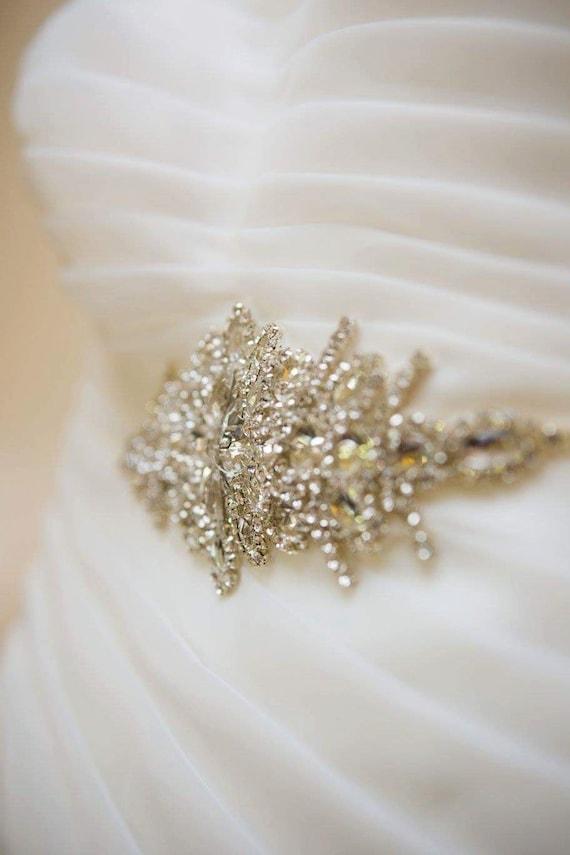 Rhinestone Applique, Wedding belt, Rhinestone dress sash, Bridal Belt, Bridal Accessories, Rhinestone Crystal Appliqué Bridal Sash, Carly