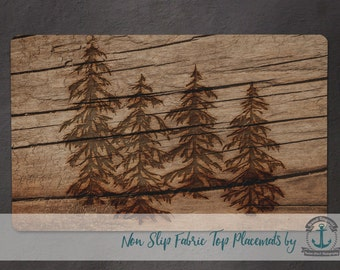 Placemat - Wood Look Trees | Rustic Lodge Wilderness Chic Decor | Anti Skid/Non Slip Fabric Top Rubber Backed Awesomeness
