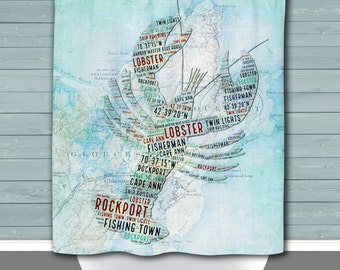 Rockport Shower Curtain: Vintage Rockport Mass Lobster Map | Made in the USA | 12 Hole Fabric Bathroom Decor