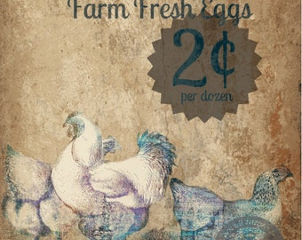 Farm Fresh Eggs Shabby Chic Cottage Rustic Farmhouse Kitchen Decor Product Options and Pricing via Dropdown Menu
