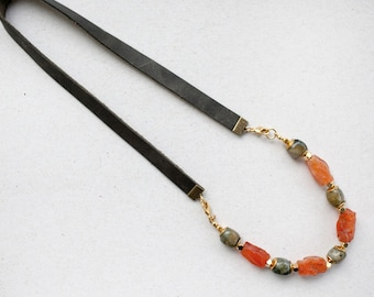 Mix and match Amber Carnelian and Grey Labradorite gemstone w/leather cord, Casual  Necklace or bracelet  by pardes israel
