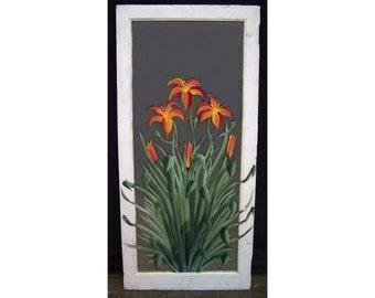 Painted mirror with orange flower design
