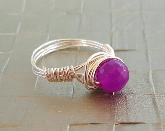 Custom Amethyst Wire Wrapped Ring