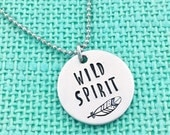Hand Stamped WILD SPIRIT - With Feather - by Eight9 Designs