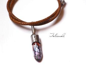 Talisman .. Artisan made pendant Murano/effetre glass, genuine stingray leather cord