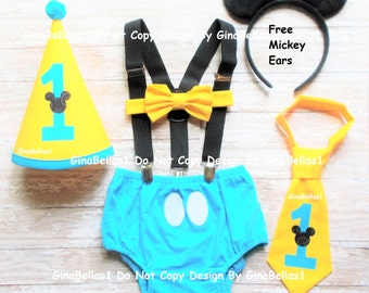 Mickey Mouse Birthday cake smash costume baby blue outfit Free Ears Black suspenders I am One Hat diaper cover bow or tie 9 12 18 24 toddler
