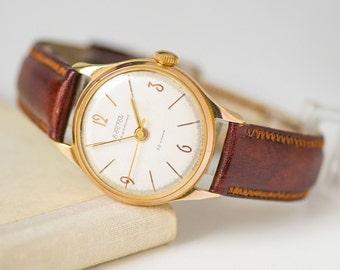 Luxury men wrist watch Vostok Precision cal 2809, gold plated case movement men watch,rare Soviet watch classic,excellent calf leather strap