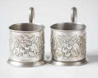 Mid century tea glass holders, set of 2 fruits pattern podstakanniks, silver shades Soviet tabelware, home decor holders folk manner gift