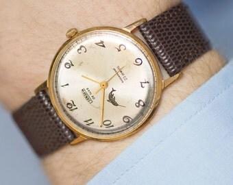 CORNAVIN de luxe men's watch, gold plated AU 12.5 gent's watch, classic sleek men watch, groom watch, shockproof watch, leather strap new