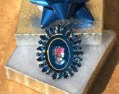 Verified Juliana Sapphire Blue Rhinestone Cameo D&E Juliana Rhinestone Cameo Brooch Vintage Glass and Rhinestone Cameo Jewelry Gift for Her