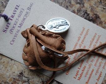 Safe Travel Handmade Pocket Size Crystal Mojo Medicine Bag