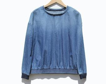 Vintage Cotton Blue Jean Top / Loose Top