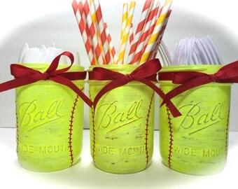 Girls Softball Mason Jars. Softball Party Centerpiece. Painted Mason Jars. Utensil Holder. Softball Mason Jars. Softball Birthday Party
