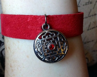 Suede Mandala Bracelet in Red