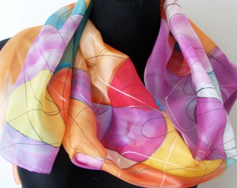 Abstract / Hand Painted Multicolor Silk Scarf for Ladies. Orange and Violet, / Yellow and Green.