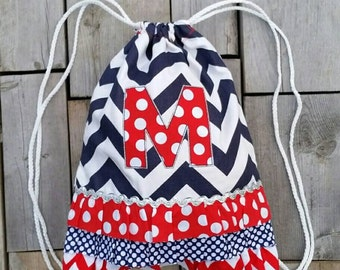 """Dance and Cheer Drawstring Backpack with """"M"""" Monogram - Personalized Backpack - Childrens Backpack - Kids Backpack - Ready to ship"""