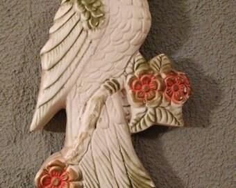 Vintage Favor Ware Chalkware Bird Plaque