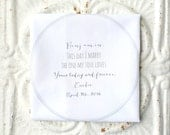 BRIDE to groom / GROOM to bride handkerchief . this day I marry the one my soul loves hankie . wedding hanky