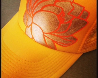 Sunflower yellow trucker with hand silkscreen lotus outline and hand painted goldy fill