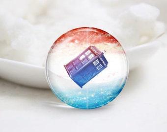 Handmade Round Dr.Who Tardis Photo Glass Cabochons (P3642)