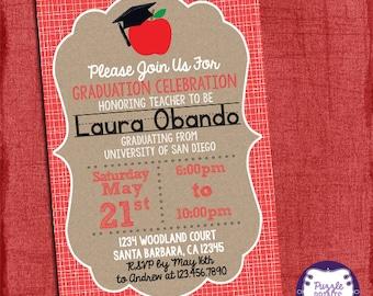 Teacher Graduation Invitation, Graduation Invitation, Grad Invite-I design you print